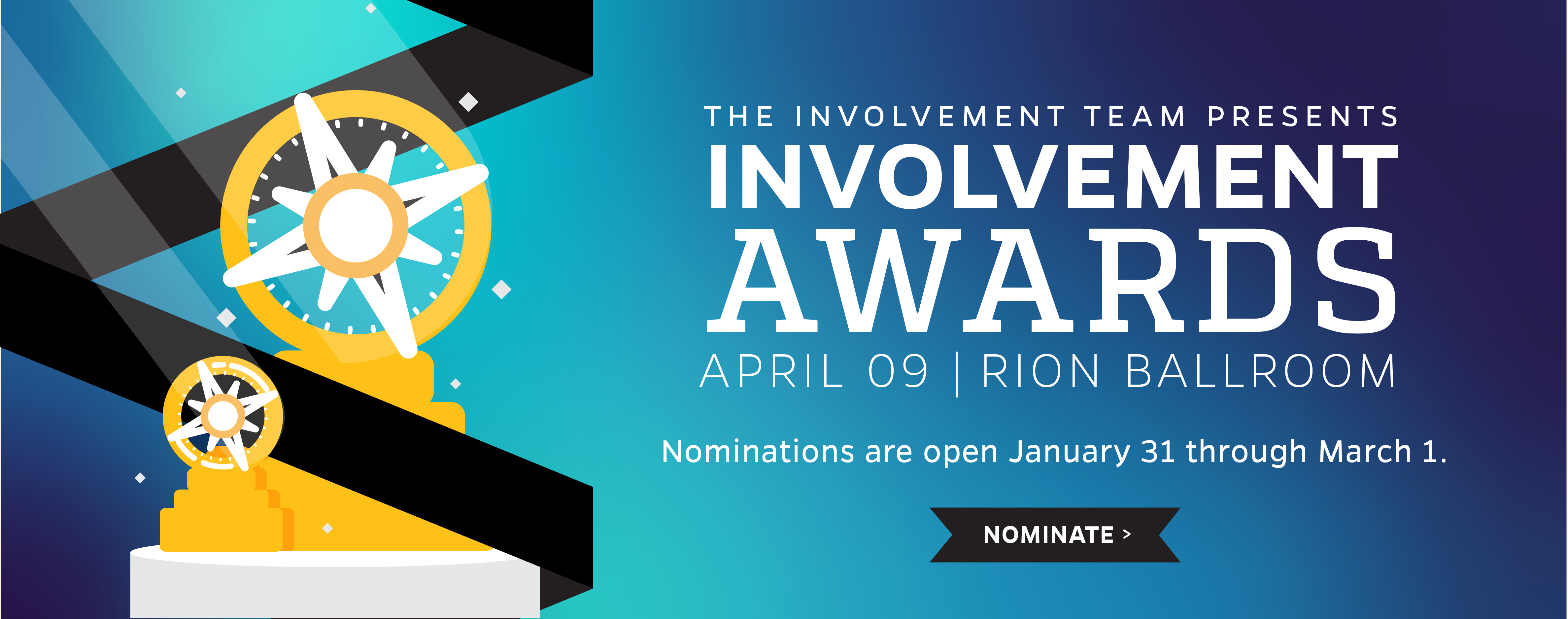 Involvement Award Graphic April 9 Event Nominations are open until March 1